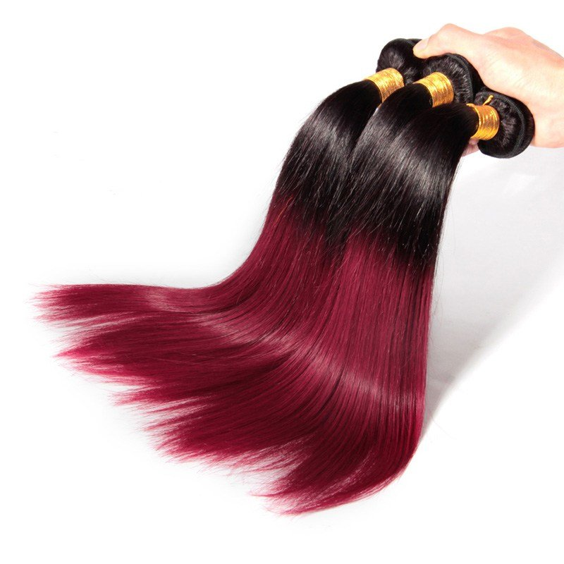 The Best Colored Brazilian Hair Weave Straight Ombre 530 Dark Red Pictures