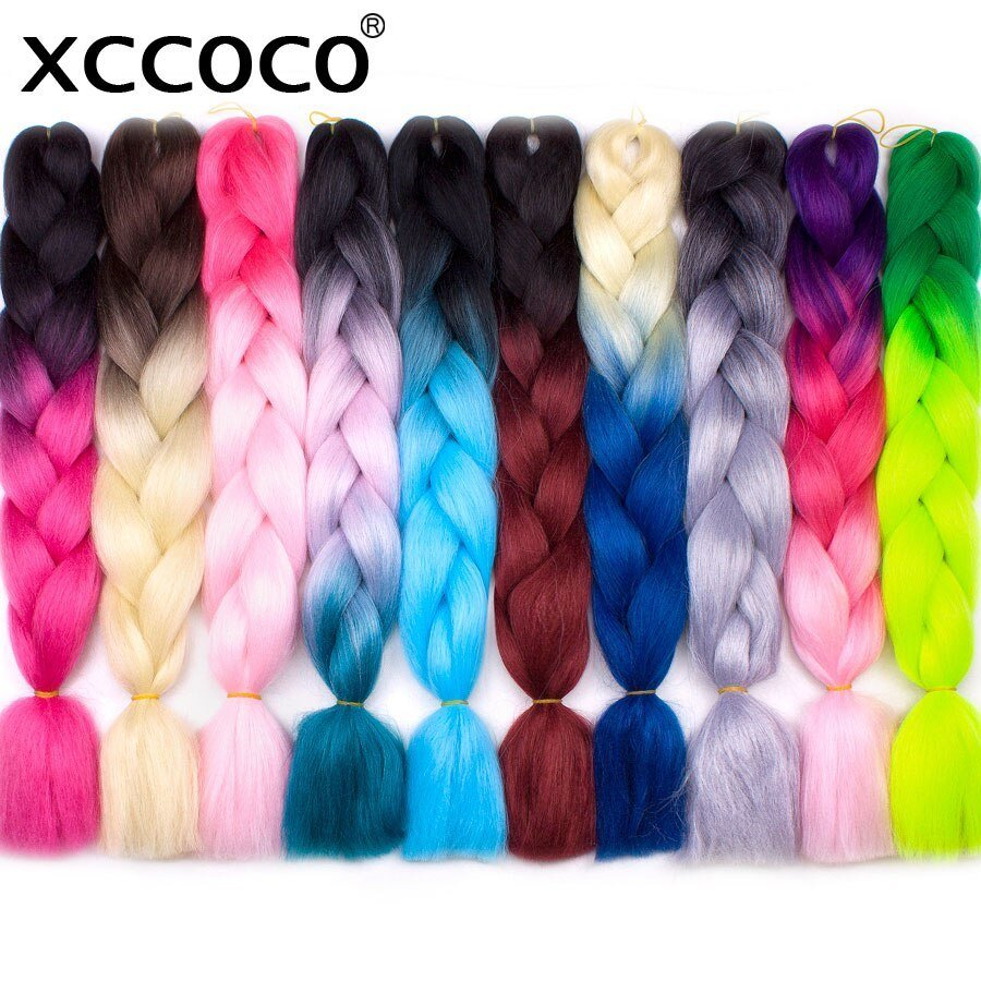 The Best Xccoco Hair Crochet Braids Ombre Kanekalon Braiding Hair 24 Inch 100G Ombre Color Jumbo Braids Pictures