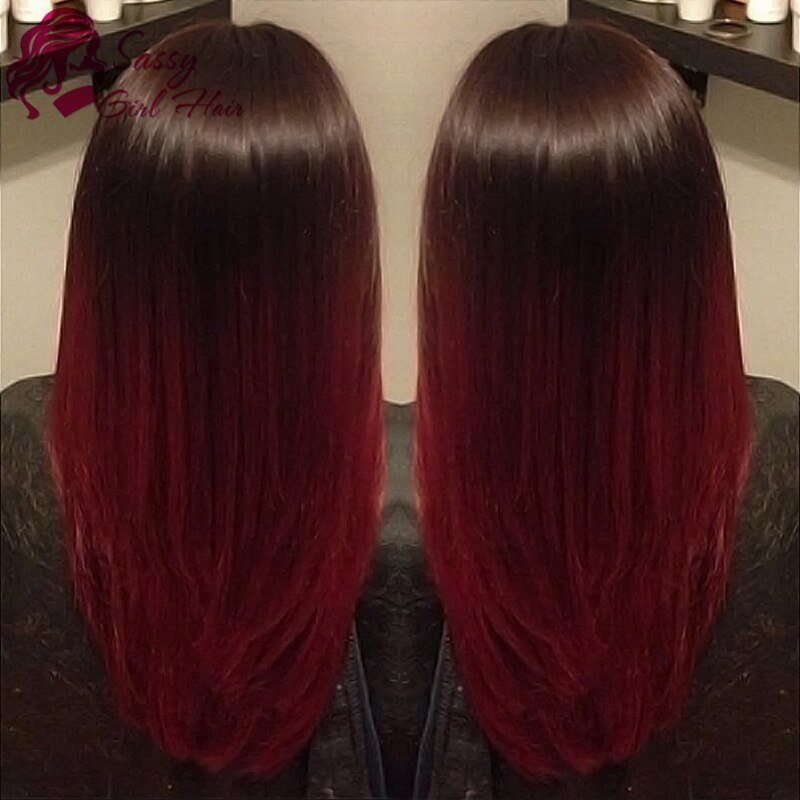 The Best 7A Peruvian V*Rg*N Hair Straight Ombre Burgundy Weave Pictures