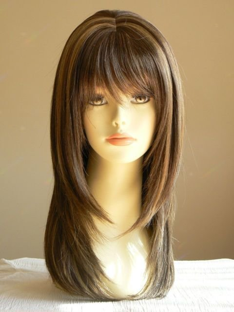 The Best Lady Sandy Straight Medium Brown Layered Wigs Salon Pictures