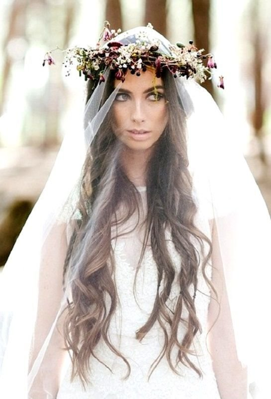 The Best Boho Bride S Long Down Curls Wedding Hair Toni Kami Pictures