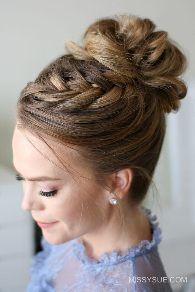 The Best Fishtail French Braid High Bun Missy Sue Wedding Pictures