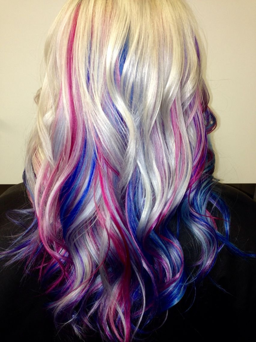 The Best Platinum Blonde Hair With Blue Pink And Purple Streaks Pictures