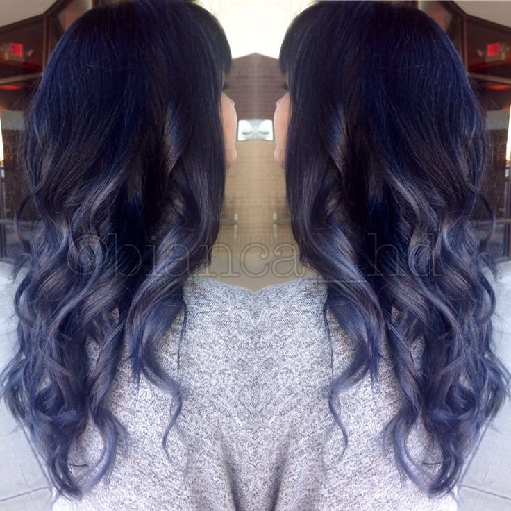 The Best Steel Blue Grey Ombre Balayage With Black Roots And Soft Pictures