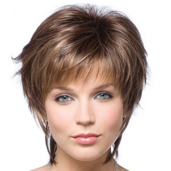 The Best Elegant Short Capless Trendy Full Bang Heat Resistant Fiber Mixed Color Straight Wig For Women Pictures