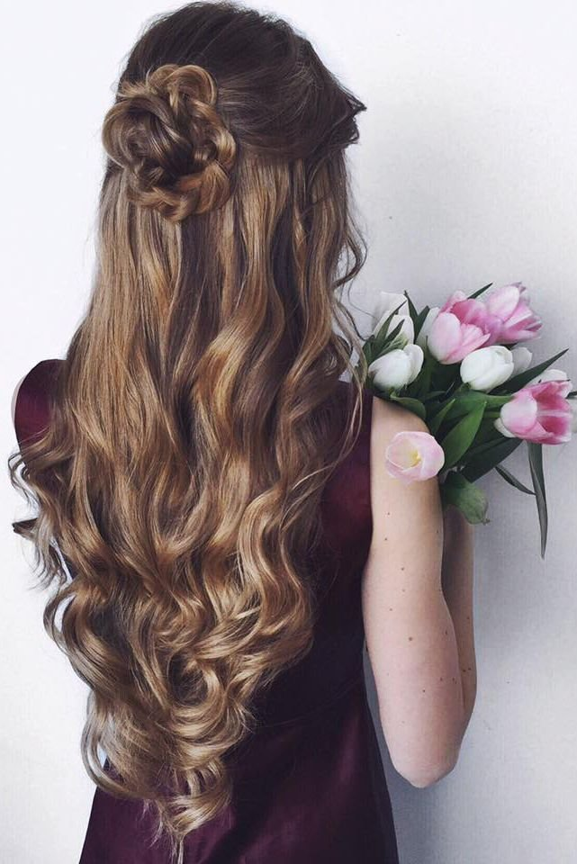 The Best Highlights Half Up Half Down Curly Hair Hairstyles And Pictures