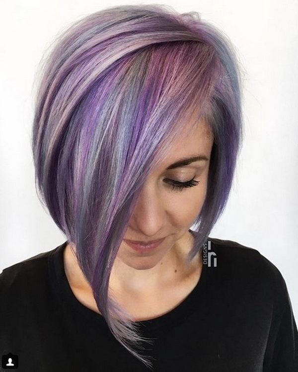 The Best Edgy Violet Asymmetrical Bob Haircuts 2018 2019 With Sleek Pictures