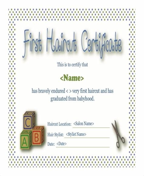 The Best First Haircut Certificate Free Download Printable Templates Lab Pictures