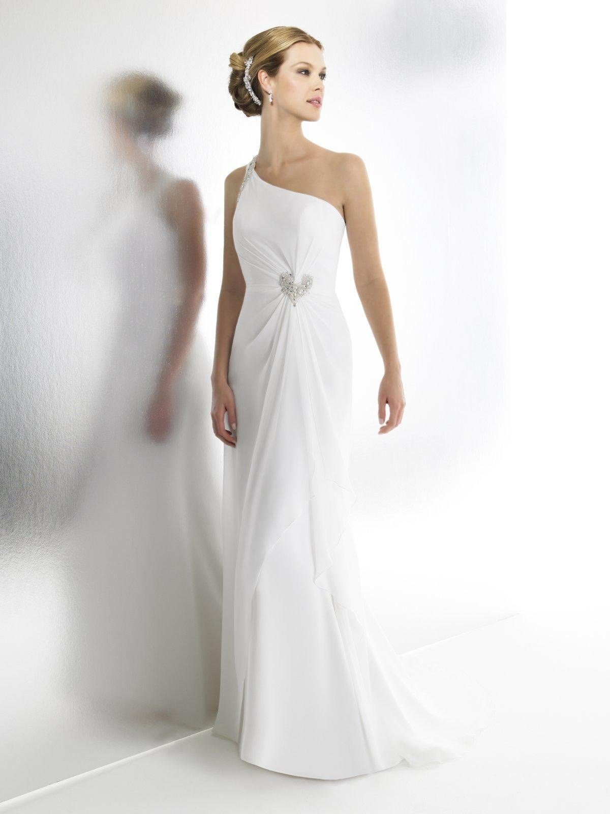 The Best Chiffon One Shoulder Wedding Dress Hairstyle For Women Man Pictures