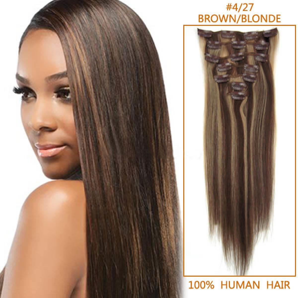 The Best 26 Inch 4 27 Brown Blonde Clip In Remy Human Hair Pictures