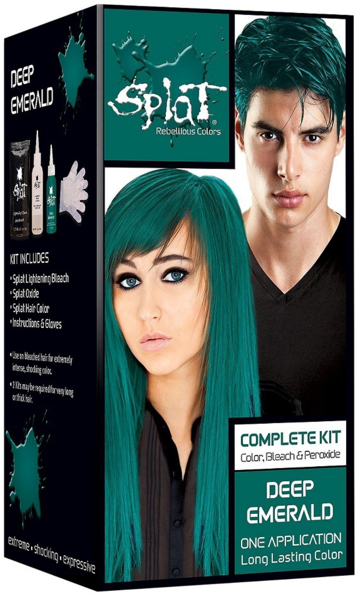 The Best Splat Rebellious Colors Hair Coloring Complete Kit Deep Emerald 1 Ea Pack Of 2 Walmart Com Pictures