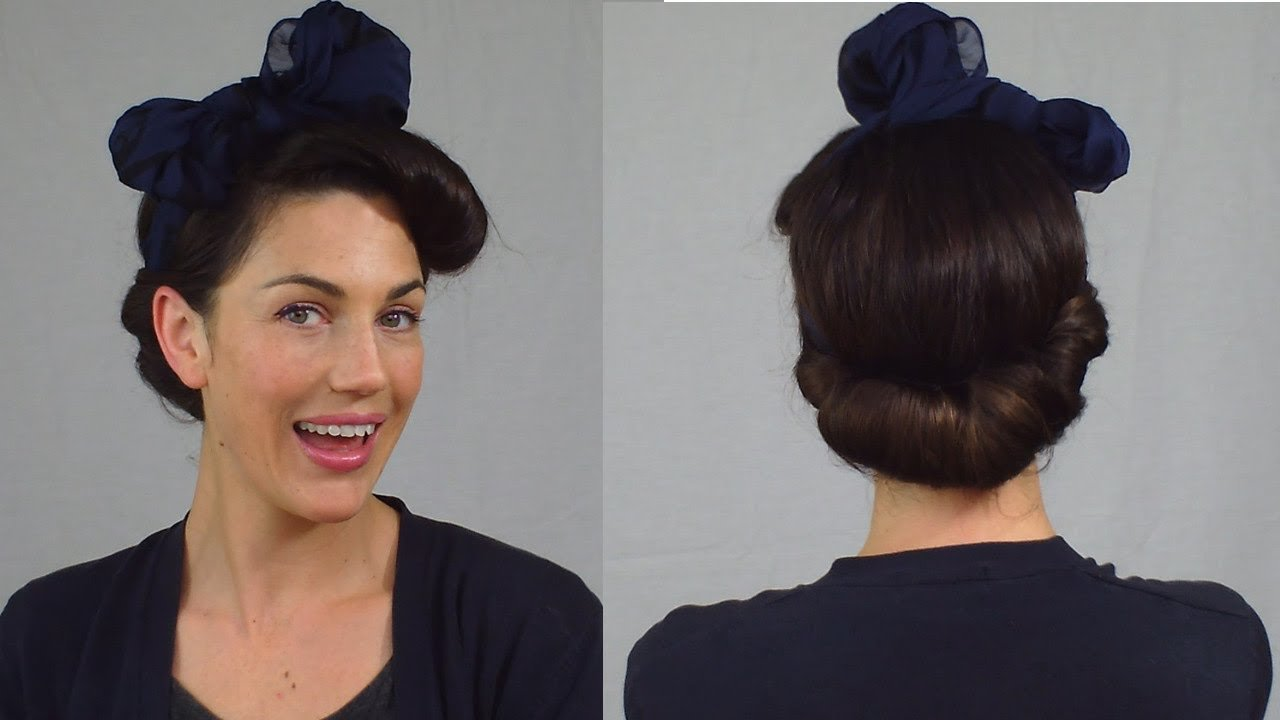 The Best Easy Pin Up Hairstyle Vintage Scarf Roll Updo Fitfully Pictures