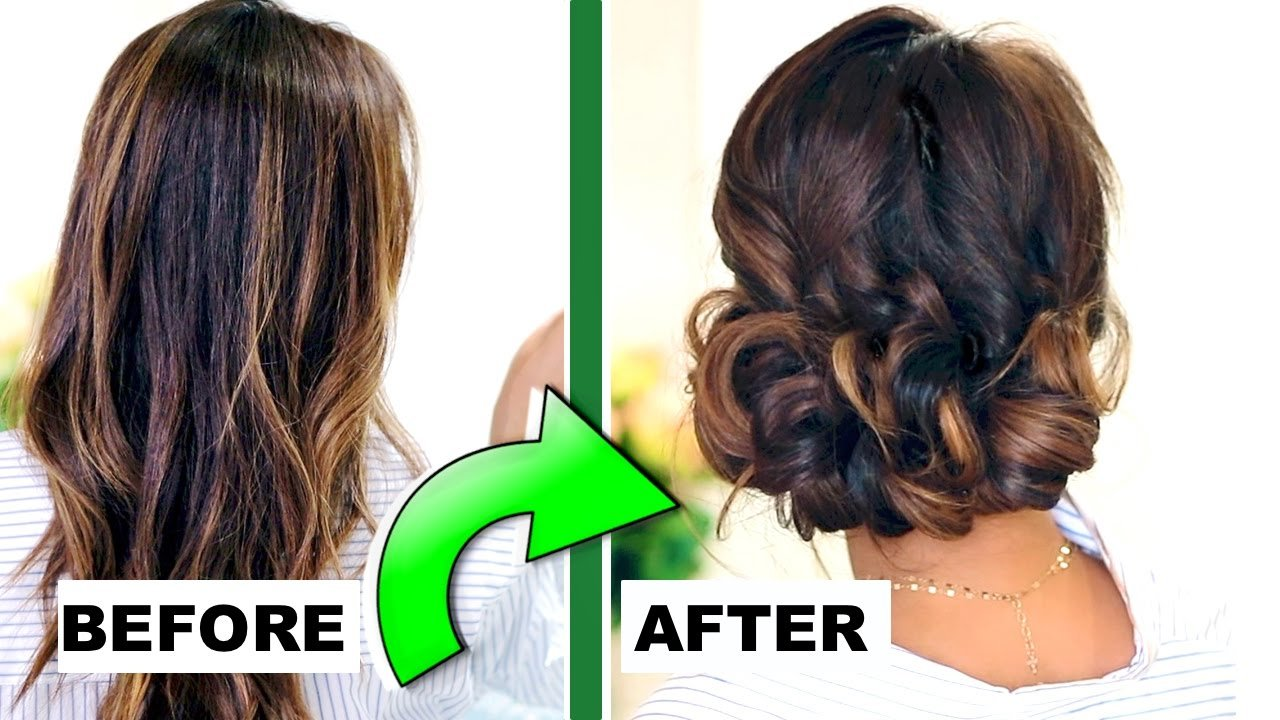 The Best 3 Minute Elegant Curly Bun Easy Updo Hairstyles For Pictures