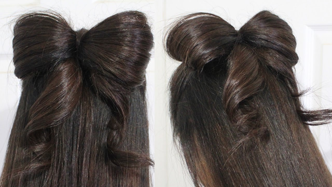 The Best Hair Bow Tutorial Hairstyle Half Updo For Medium Long Hair Pictures