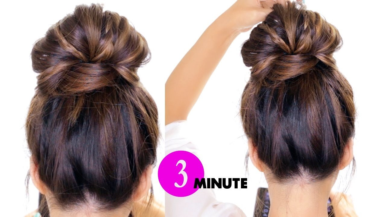 The Best 3 Minute Bubble Bun With Braids Hairstyle ★ Easy Pictures