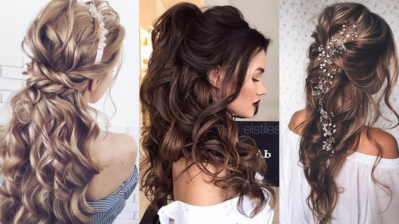 The Best Half Up Half Down Long Hair Wedding Hairstyles Youtube Pictures