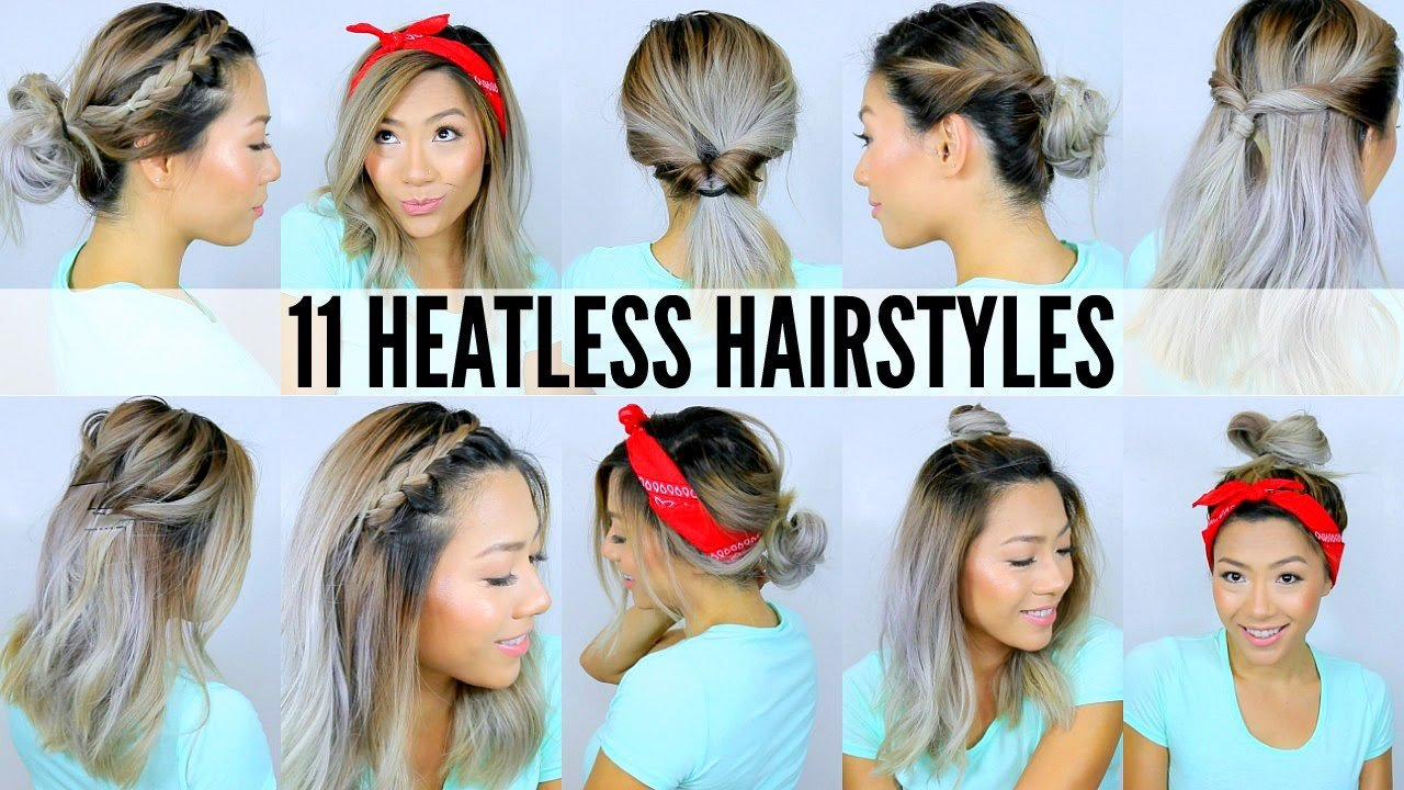 The Best 11 Easy Heatless Hairstyles For Short Long Hair Under Pictures