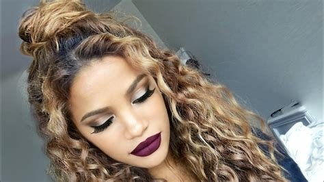 The Best The Curly Half Up Bun Hairstyle Youtube Pictures