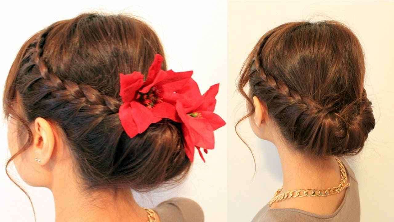 The Best Holiday Braided Updo Hairstyle For Medium Long Hair Pictures