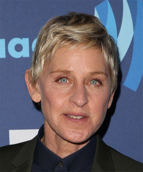 The Best Ellen Degeneres Casual Short Straight Hairstyle Blonde Pictures