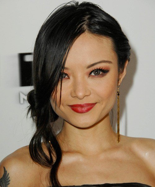 The Best Tila Tequila Casual Long Straight Updo Hairstyle Black Pictures