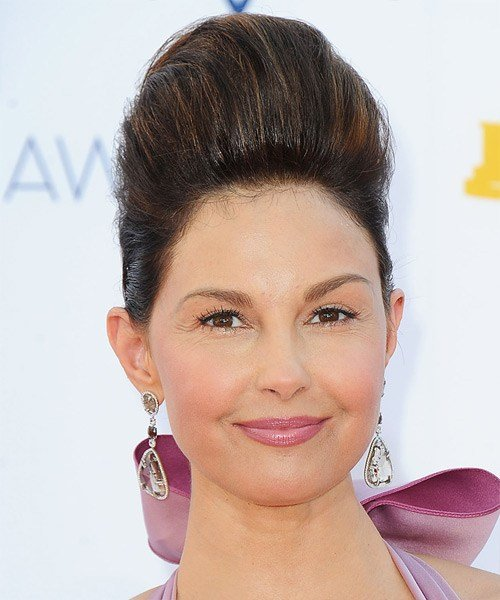 The Best Ashley Judd Formal Long Straight Updo Hairstyle Dark Pictures