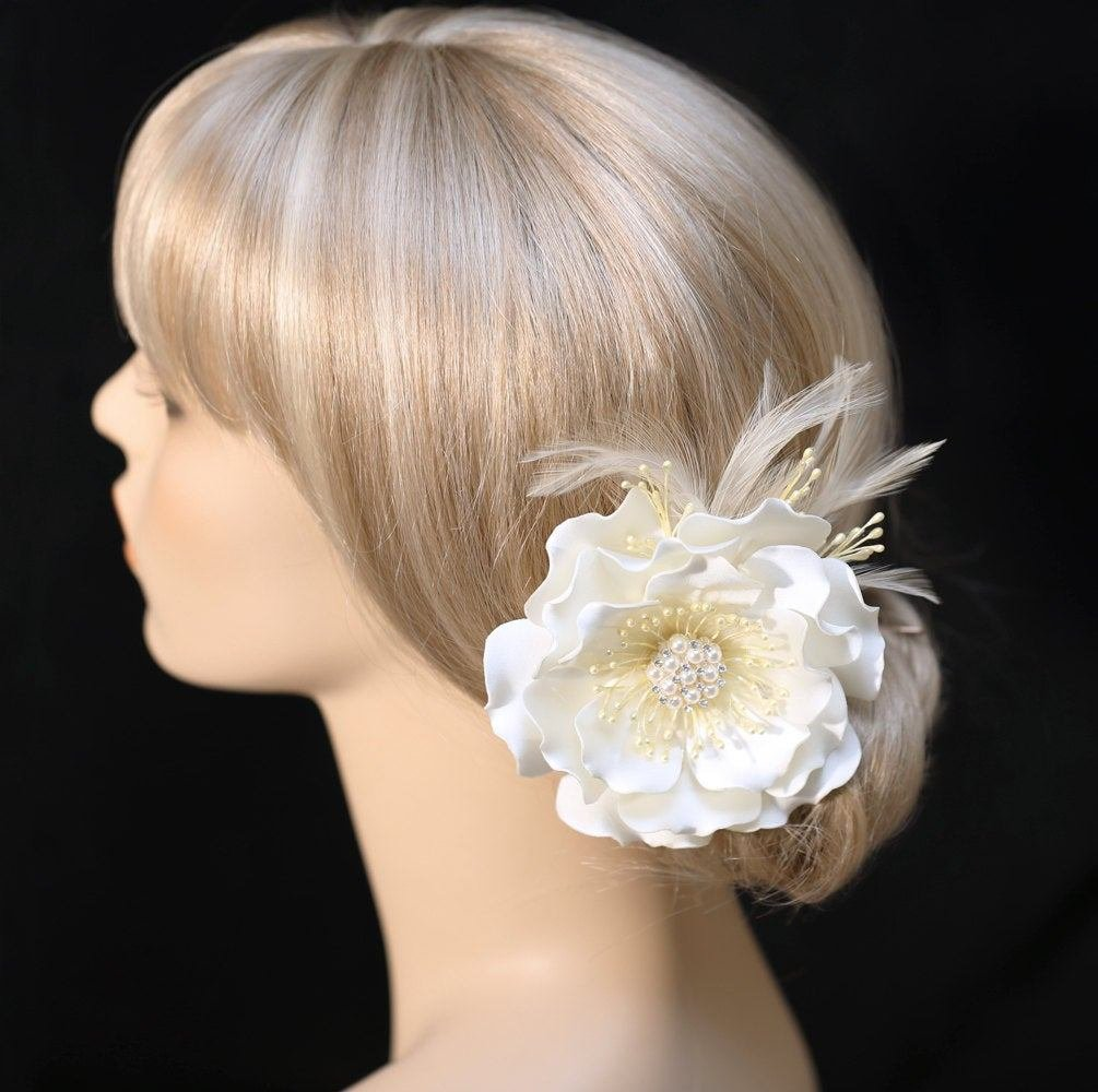 The Best Wedding Hair Clip Ivory Color Satin Flower Hair Clip Wedding Pictures