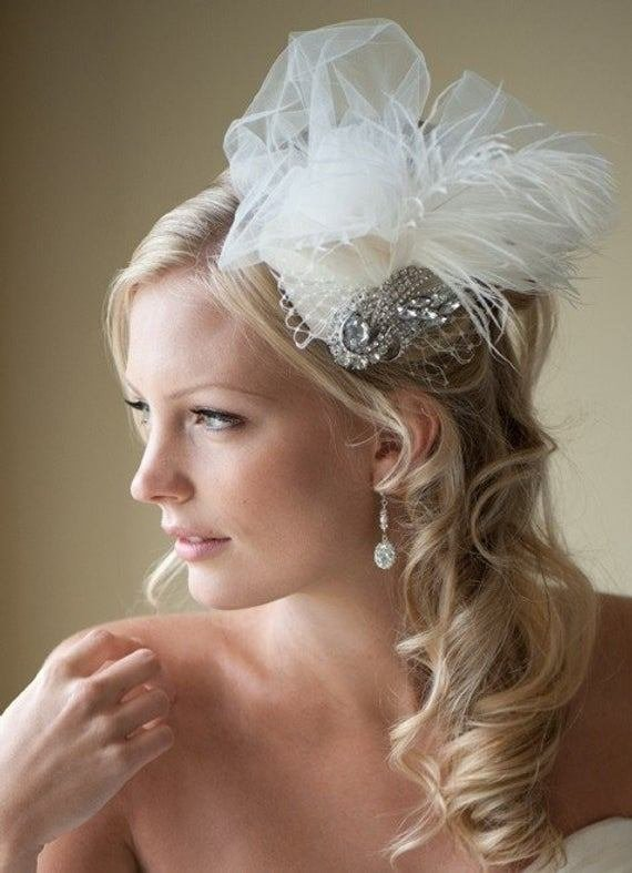 The Best Bridal Fascinator Bridal Hat Feather Wedding Hair Accessory Pictures