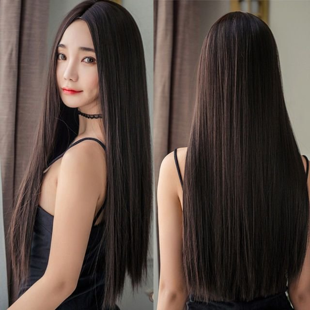 The Best Women Long Straight Full Wig Hair Part Bangs Synthetic Pictures