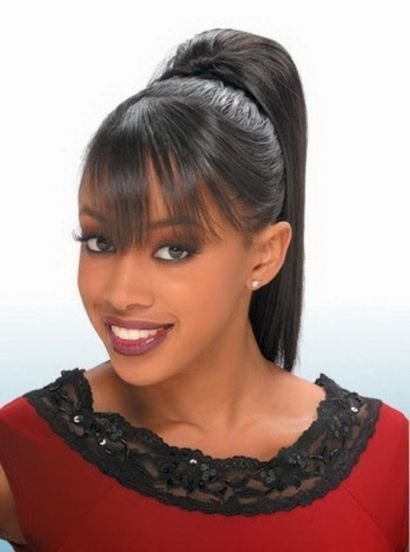 The Best Black Women High Ponytail Hairstyles With Side Bangs Pictures