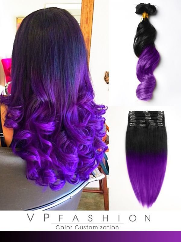 The Best Black To Dark Purple Mermaid Colorful Ombre Indian Remy Pictures
