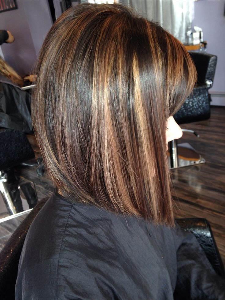 The Best Angled Bob Rich Brown Base With Caramel Highlights Short Pictures