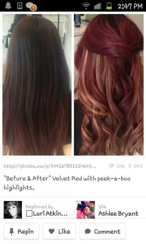 The Best 10 Ideas About Red Peekaboo Highlights On Pinterest Fall Hair Colour Bright Red Highlights Pictures