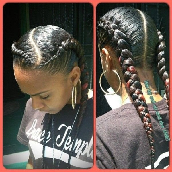 The Best 2 Underhand Braids With A Wavy Part In The Front Forming A Straight Part In The Back Hair Pictures
