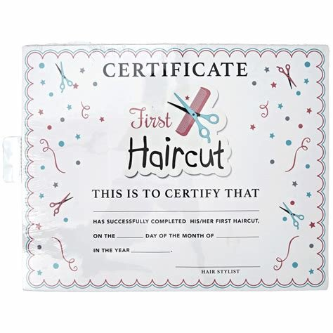 The Best Salon Care My First Haircut Certificate Pictures