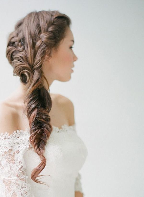 The Best Long Wedding Hairstyle Fishtail Braid Pictures