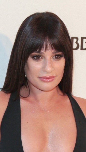 The Best Hairstyles Lea Michele Long Straight Hairstyle With Bangs Pictures