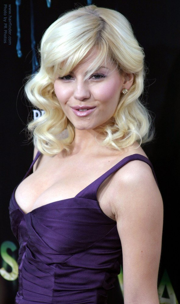 The Best Elisha Cuthbert Shoulder Long Curled Blonde Hairstyle Pictures