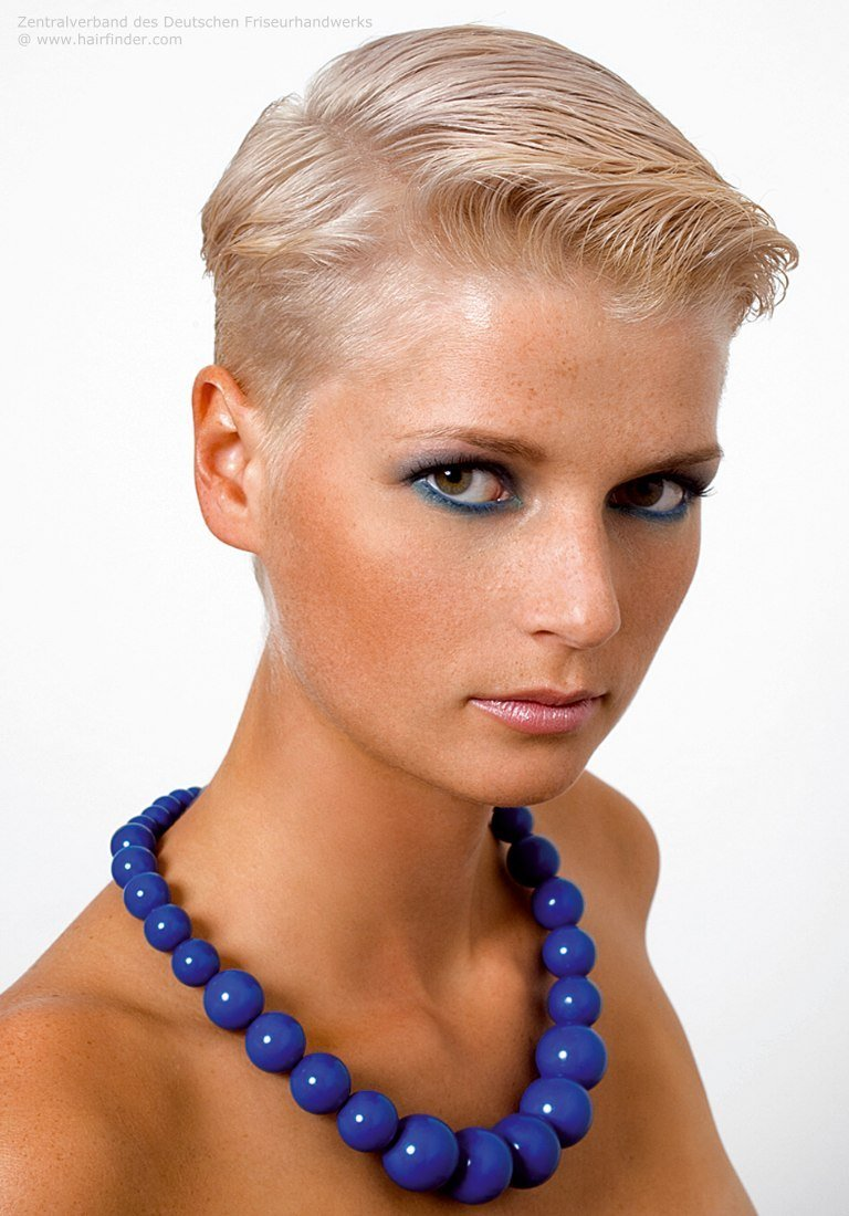 The Best Very Short Haircut Styled With Gel Wet Look For Women Pictures