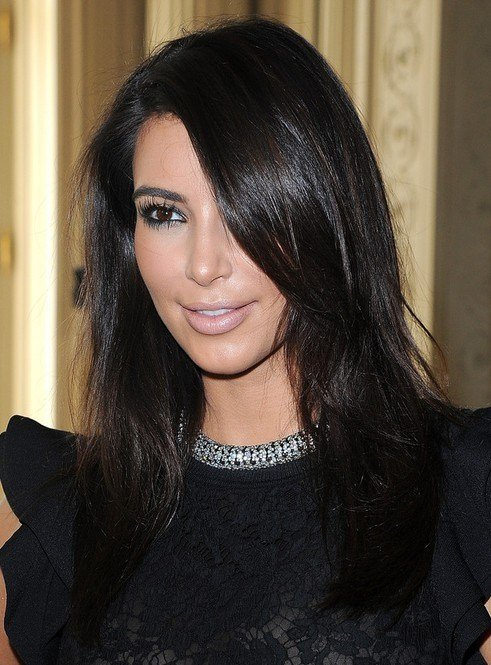 The Best Kim Kardashian Medium Hairstyles Casual Black Hair Pictures