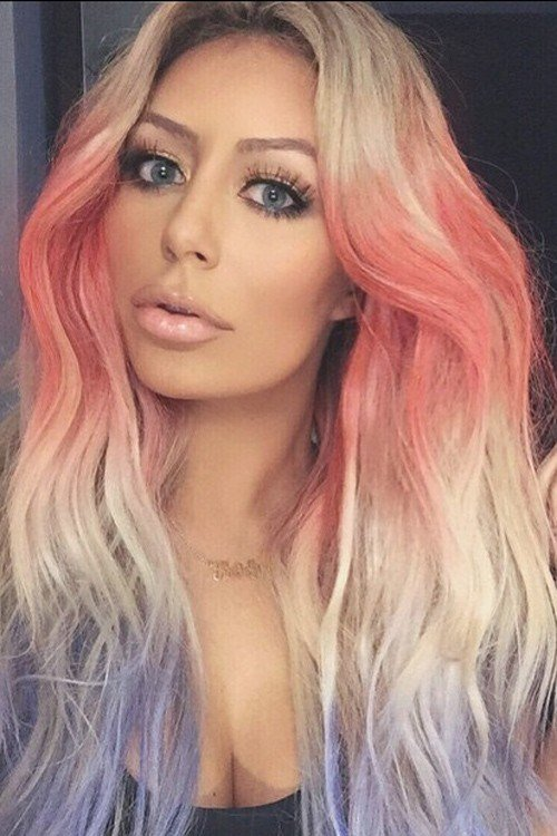 The Best Aubrey O Day Wavy Platinum Blonde Tri Color Hairstyle Pictures