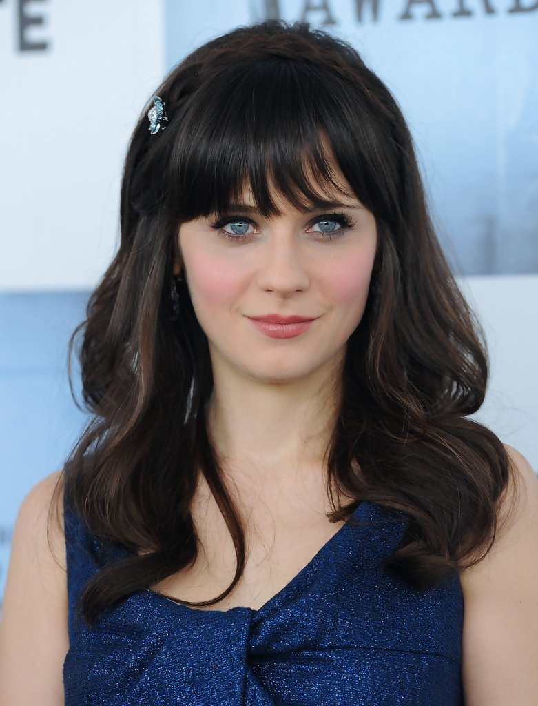 The Best Zooey Deschanel Medium Curls With Bangs Zooey Deschanel Pictures