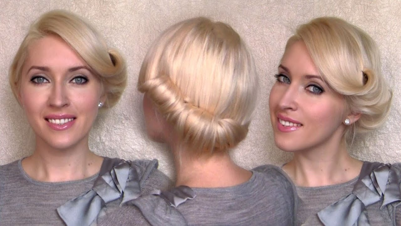 The Best Side Swept Rolled Updo Hairstyle For Medium Short Hair Tutorial Charlize Theron Vintage Retro Pictures
