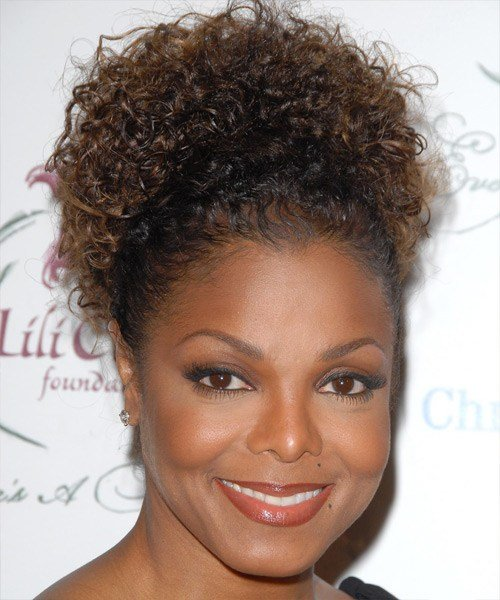 The Best Janet Jackson Long Curly Casual Updo Hairstyle Pictures