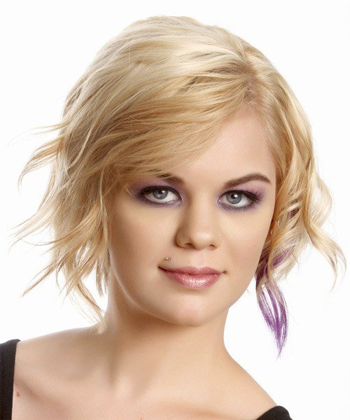 The Best Short Wavy Casual Hairstyle Light Champagne Blonde Hair Pictures