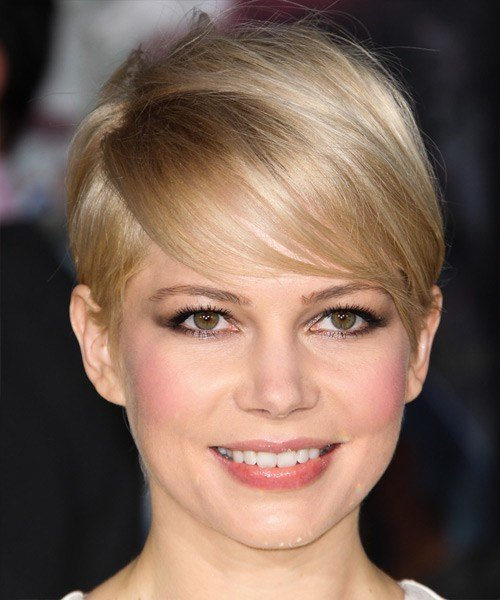The Best Michelle Williams Short Straight Formal Hairstyle With Side Swept Bangs Light Champagne Blonde Pictures