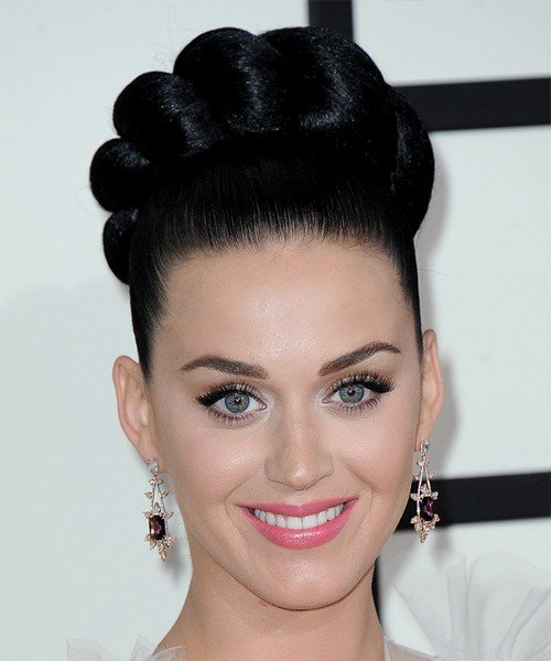 The Best Katy Perry Long Straight Formal Updo Hairstyle Black Pictures