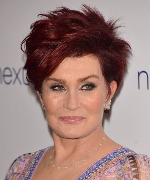 The Best Sharon Osbourne Short Straight Casual Hairstyle Red Hair Pictures