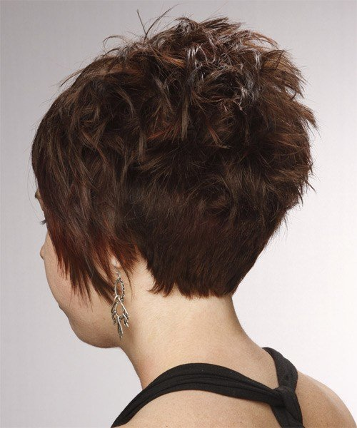 The Best Short Straight Formal Layered Pixie Hairstyle With Side Swept Bangs Chocolate Brunette Hair Color Pictures