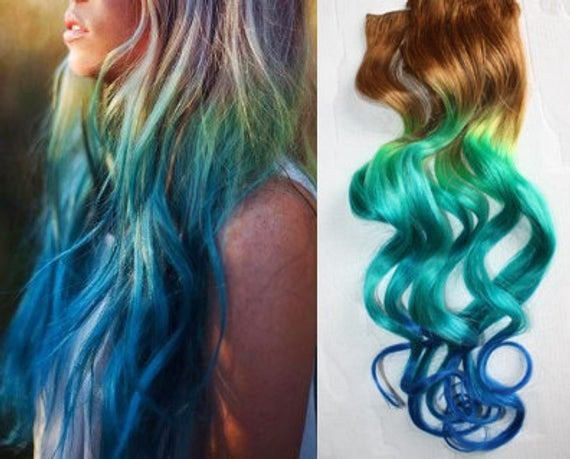 The Best Mermaid Clip In Hair Extensions Ombre Hair Tie By Cloud9Jewels Pictures